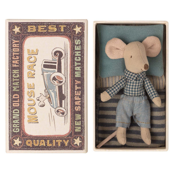 Little Brother Mouse In Matchbox Checkered T-Shirt