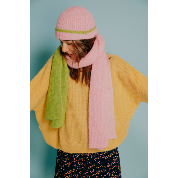 Scarf Yelena pink orchid/guacomole