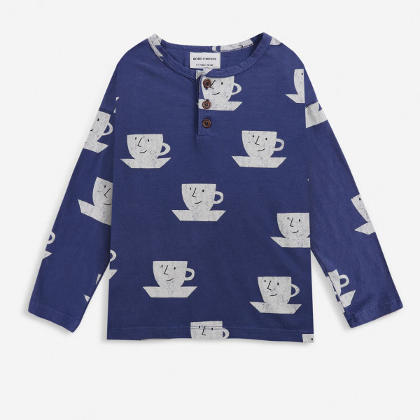 Cup Of Tea All Over Buttoned T-shirt