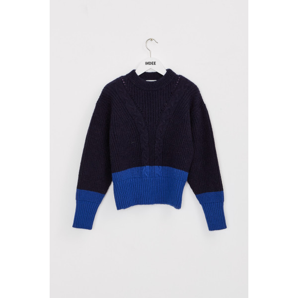 Kiss Cabled Knit Sweater Midnight Blue