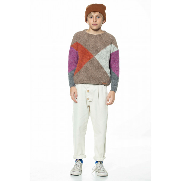 Knitted Sweater Multicolor Geometric Intarsia