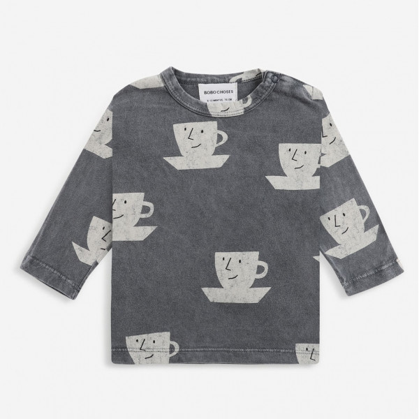 Cup Of Tea All Over Long Sleeve Baby T-shirt