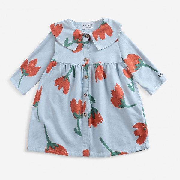 Flowers Buttoned Woven Baby Dress