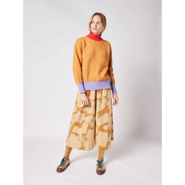 Multicolor Intarsia Brushed Knit Sweater
