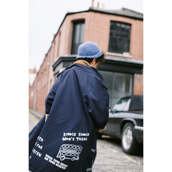 Printed Trench Navy