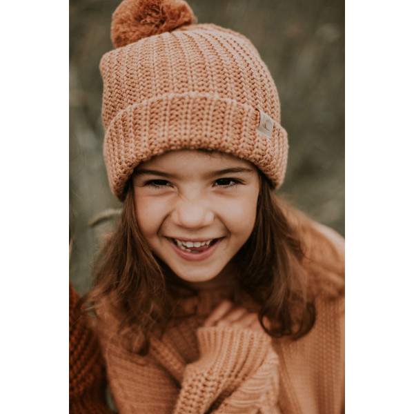 Chunky Knitted Beanie Coral