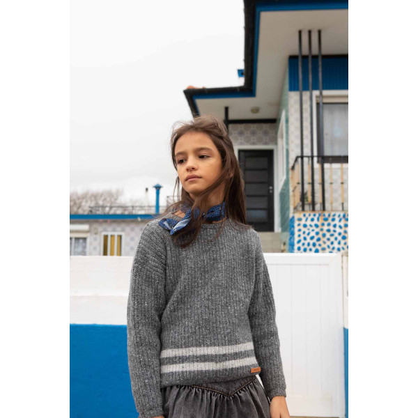 Knitted Sweater Grey With Stripes