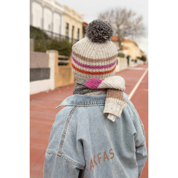 Knitted Hat With Pompon Grey with Stripes
